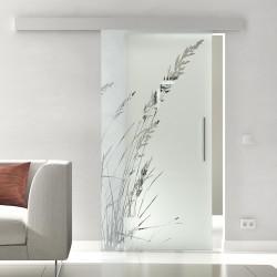 Glasschiebetür Glas Komplettset Softclose 1025 / 900 / 775 mm Breite Gräser