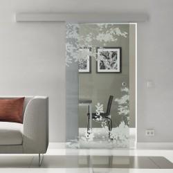 Schiebetür Glas Komplettset Softclose 1025 / 900 / 775 mm Breite Blätter invers
