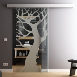 Glasschiebetür Glas Komplettset Softclose 1025 / 900 / 775 mm Breite Baum