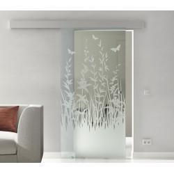 Glasschiebetür Glas Komplettset Softclose 1025 / 900 / 775 mm Breite Frühling
