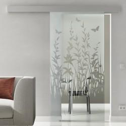 Glasschiebetür Glas Komplettset Softclose 1025 / 900 / 775 mm Breite Frühling invers