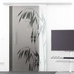 Glasschiebetür Glas Komplettset Softclose 1025 / 900 / 775 mm Breite Palme