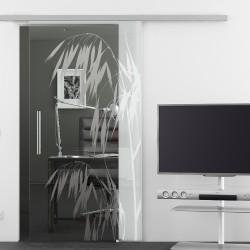 Glasschiebetür Glas Komplettset Softclose 1025 / 900 / 775 mm Breite Palme (invers)