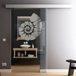 Glasschiebetür Glas Komplettset Softclose 1025 / 900 / 775 mm Breite Muschel-Design invers