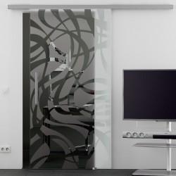 Schiebetür Glas Komplettset Softclose 1025 / 900 / 775 mm Breite geschwungene Streifen (2)