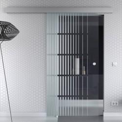 Schiebetür Glas Komplettset Softclose 1025 / 900 / 775 mm Breite senkrechte Streifen