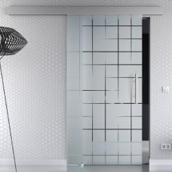 Glasschiebetür Kurven-Design Basic-Beschlag Levidor / Glaslager.de