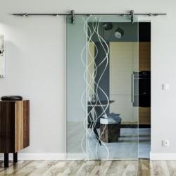 Wellen-Design (A) Glasschiebetür Edelstahlbeschlag mit offenen Laufrollen LEVIDOR