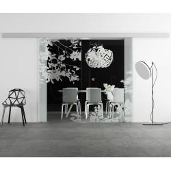 Glasschiebetür Design Blätter invers Basic-Beschlag Levidor / Glaslager.de 2 Scheiben