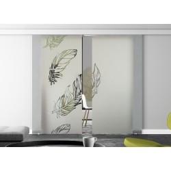 Glasschiebetür Design Federn Basic-Beschlag Levidor / Glaslager.de 2 Scheiben