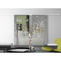 Glasschiebetür Design Frühling Basic-Beschlag Levidor / Glaslager.de 2 Scheiben