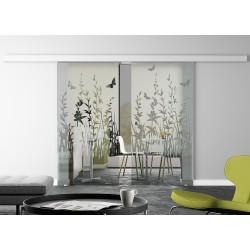 Glasschiebetür Design Frühling invers Basic-Beschlag Levidor / Glaslager.de 2 Scheiben