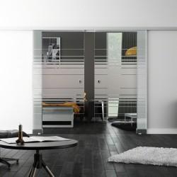 Levidor SoftClose-Schiebetür ProfiSlide Horizont-Design (H) 2 Glasscheiben