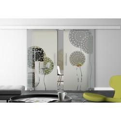 Glasschiebetür Design Pusteblume invers Basic-Beschlag Levidor / Glaslager.de 2 Scheiben