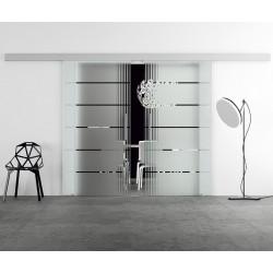 Glasschiebetür Design senkrechte Streifen invers (2) Basic-Beschlag Levidor / Glaslager.de 2 Scheiben