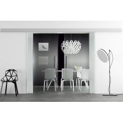 Glasschiebetür Design feine senkrechte Streifen Basic-Beschlag Levidor / Glaslager.de 2 Scheiben
