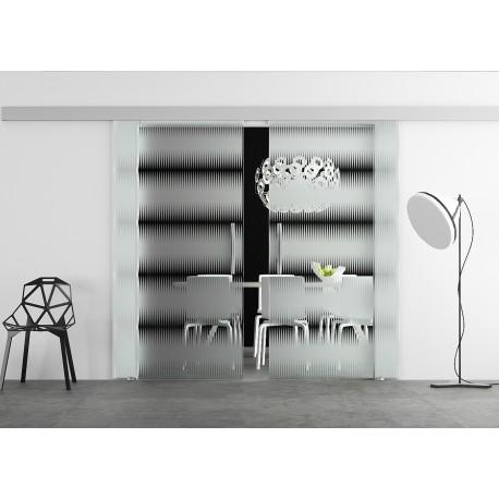 Glasschiebetür Design breite waagerechte Streifen Musik Basic-Beschlag Levidor / Glaslager.de 2 Scheiben