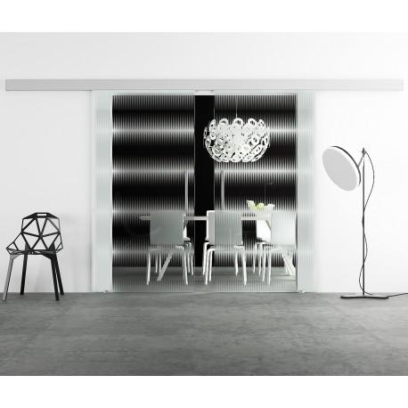 Glasschiebetür Design breite waagerechte Streifen Musik invers Basic-Beschlag Levidor / Glaslager.de 2 Scheiben