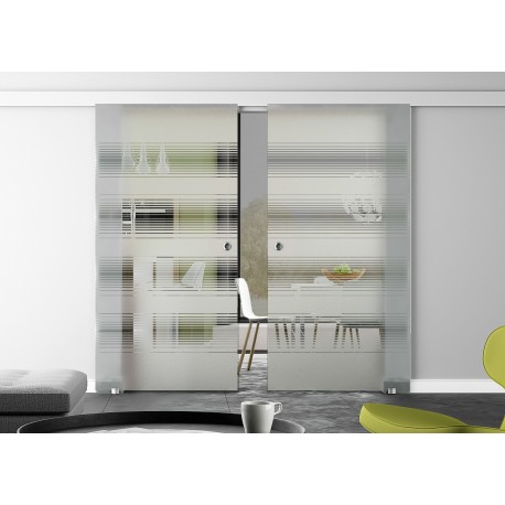 Glasschiebetür Design breite waagerechte Streifen (2) Basic-Beschlag Levidor / Glaslager.de 2 Scheiben