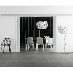 Glasschiebetür Design Karos invers (2) Basic-Beschlag Levidor / Glaslager.de 2 Scheiben