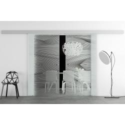 Glasschiebetür Design Breite geschwungene Streifen (4) Basic-Beschlag Levidor / Glaslager.de 2 Scheiben
