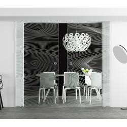 Glasschiebetür Design Breite geschwungene Streifen invers (4) Basic-Beschlag Levidor / Glaslager.de 2 Scheiben