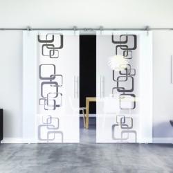 Ketten-Design Glasschiebetür Edelstahlbeschlag mit offenen Laufrollen LEVIDOR - 2 Scheiben