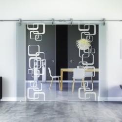 Ketten-Design invers Glasschiebetür Edelstahlbeschlag mit offenen Laufrollen LEVIDOR - 2 Scheiben