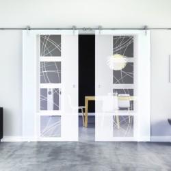 Kurven-Design Glasschiebetür Edelstahlbeschlag mit offenen Laufrollen LEVIDOR - 2 Scheiben