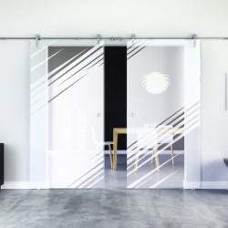 Stadt-Design Glasschiebetür Edelstahlbeschlag mit offenen Laufrollen LEVIDOR - 2 Scheiben