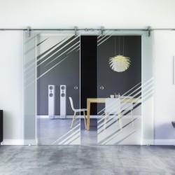 Stadt-Design invers Glasschiebetür Edelstahlbeschlag mit offenen Laufrollen LEVIDOR - 2 Scheiben