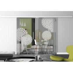 Glasschiebetür Design Pusteblume Basic-Beschlag Levidor / Glaslager.de 2 Scheiben