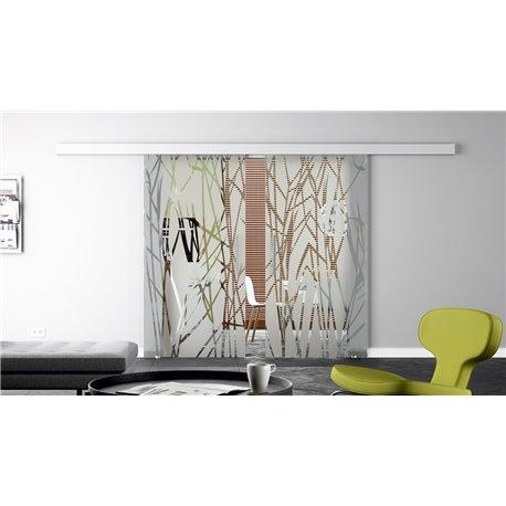 Glasschiebetür Design Schilf Basic-Beschlag Levidor / Glaslager.de 2 Scheiben