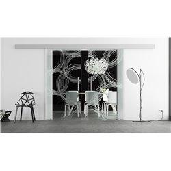 Glasschiebetür Design Freihand Kreise Basic-Beschlag Levidor / Glaslager.de 2 Scheiben
