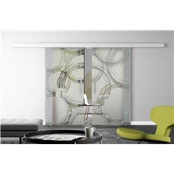 Glasschiebetür Design Freihand Kreise invers Basic-Beschlag Levidor / Glaslager.de 2 Scheiben