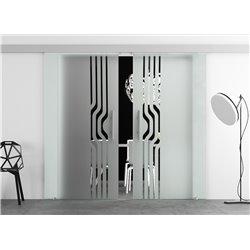 Glasschiebetür Design geschwungene Linien Basic-Beschlag Levidor / Glaslager.de 2 Scheiben
