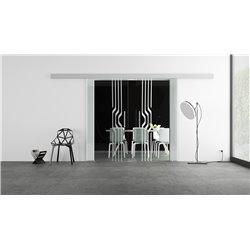 Glasschiebetür Design geschwungene Linien invers Basic-Beschlag Levidor / Glaslager.de 2 Scheiben