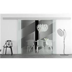 Glasschiebetür Design schräge Linien Basic-Beschlag Levidor / Glaslager.de 2 Scheiben