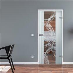 Ganzglastür / Drehtür aus ESG-Glas in Freihand-Kreise-Design invers (2) für Studio Griff und Studio Bänder