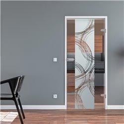 Ganzglastür / Drehtür aus ESG-Glas in Freihand-Kreise-Design (2) für Studio Griff und Studio Bänder