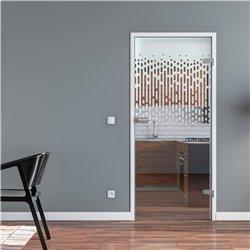 Ganzglastür / Drehtür aus ESG-Glas in senkrechte Tropfen invers für Studio Griff und Studio Bänder