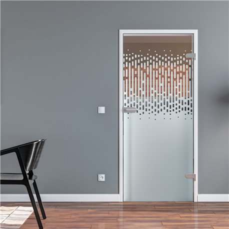 Ganzglastür / Drehtür aus ESG-Glas in senkrechte Tropfen für Studio Griff und Studio Bänder