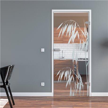 Ganzglastür / Drehtür aus ESG-Glas in Palmen-Design invers für Studio Griff und Studio Bänder