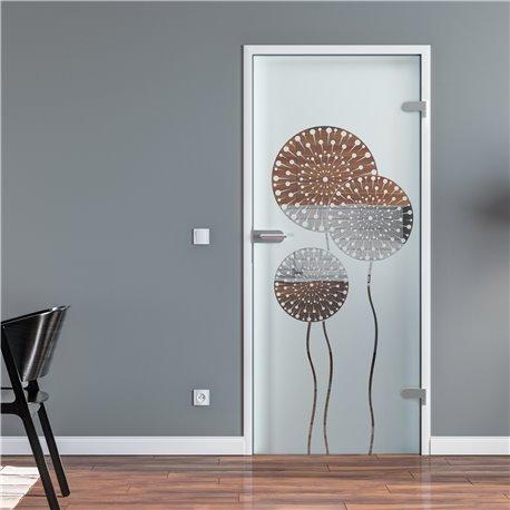 Ganzglastür / Drehtür aus ESG-Glas in Pusteblume-Design invers für Studio Griff und Studio Bänder