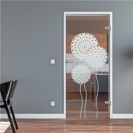 Ganzglastür / Drehtür aus ESG-Glas in Pusteblume-Design für Studio Griff und Studio Bänder