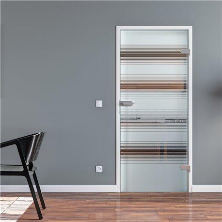Ganzglastür Drehtür aus ESG-Glas in Satiniert Milchglas mit breiten waagerechten Streifen Design (2)