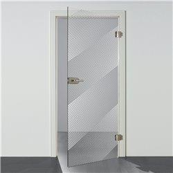 Ganzglastür Drehtür aus ESG-Glas in Satiniert Milchglas mit schrägen Linien Design invers