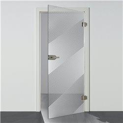 Ganzglastür Drehtür aus ESG-Glas in Satiniert Milchglas mit schrägen Linien Design