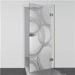Ganzglastür / Drehtür aus ESG-Glas in Freihand-Kreise-Design invers für Studio Griff und Studio Bänder