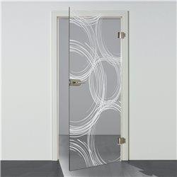 Ganzglastür / Drehtür aus ESG-Glas in Freihand-Kreise-Design für Studio Griff und Studio Bänder